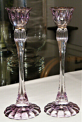 Lovely Pair IRIDESCENT PURPLE & CLEAR CRYSTAL Candlestick Holders Gold Trim EX!