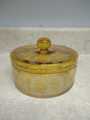 Antique Amber Bohemian Art Glass Castle and Deer Etched Candy Dish