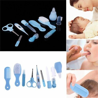 Blue 10pcs Maternal Infant Newborn Health Safety Thermometer Nail Clipper H G5D8