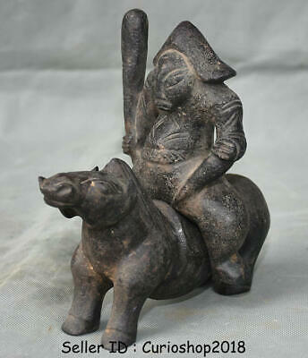 """7.8"""" Chinese Hongshan culture Old Jade Carved Ancient soldier Ride Horses Statue"""