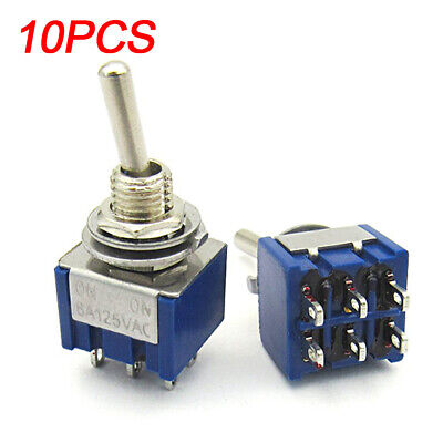 10X UK Miniature 6A 125V AC 6Pin DPDT ON-ON Mini Flick Toggle Switch Switches
