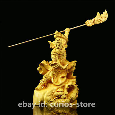 "4.9"" Chinese Exquisite Box-wood Hand-Carved Pine Tree Guan Gong Yu Warrior God"