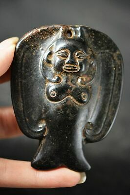 Chinese Hongshan Culture Magnet Jade Stone Carved *People* Pendant  H98