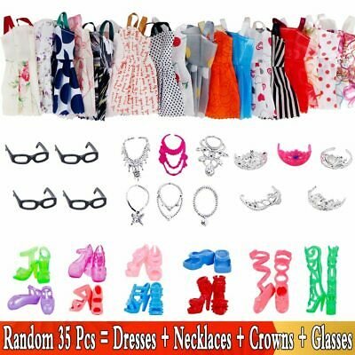 35pcs/set Barbie Doll Accessories 10Dresses+10Shoes+6Necklaces+4Glasses+5Crown
