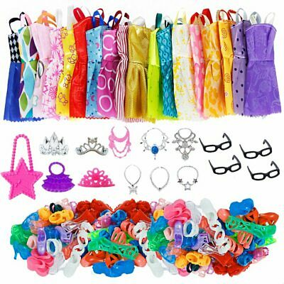 35pcs/set Barbie Doll Accessories=10Doll Clothes Dress+4Glasses+6Necklace+10Shoe