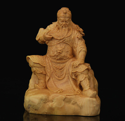 """3.9"""" Chinese Box-wood Hand-Carved Guan Yu Dragon Warrior Wealth God Small Statue"""