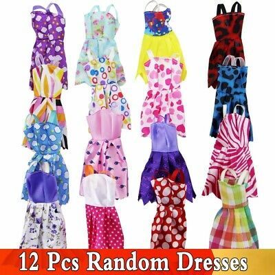 Random 12Pcs Mix Mini Dresses Party Wedding Wear Skirt ForBarbie Doll Accessorie