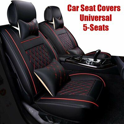 PU Leather 5-Seats SUV Front+Rear Full Car Seat Cover Cushion Set Universal Red