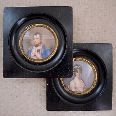 Pair Antique Miniature Portrait Napoleon Elisa Bonaparte Painting Signed Gerard