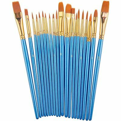 Paint Brush Set by, 20 pcs Nylon Hair Brushes for Acrylic Oil Watercolor Pa K8C7