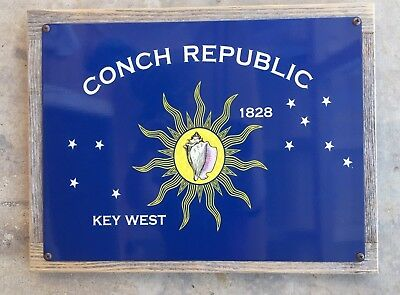 Key West Florida Conch Republic Flag Nautical Shell Framed Metal Sign Home Decor