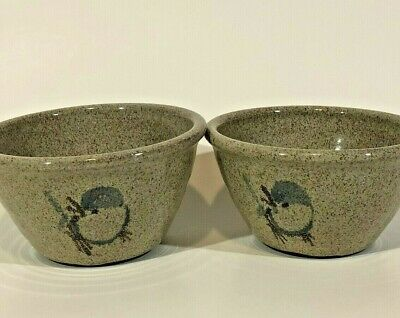 Vintage Old Time Pottery Winthrop, WA 1993 Hand Thrown Bowls Blue Bird Speckled