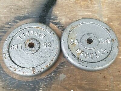 """2 Vintage 25 LB Barbell Weight Plates Cast Iron-Strength Training-1"""" 50LBS"""