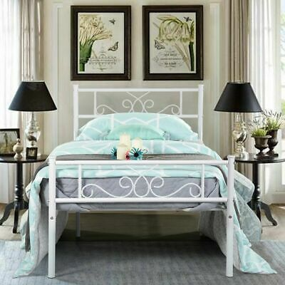Footboard WhiteTwin Size Metal Bed Frame Mattress Foundation with Headboard and
