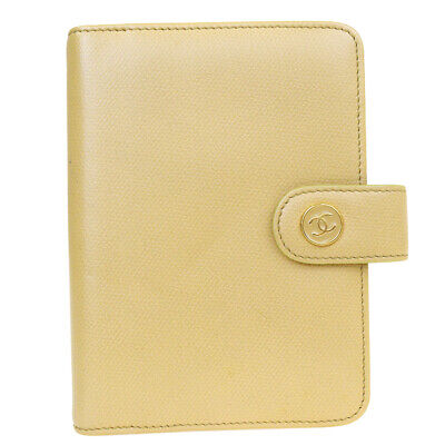 Auth CHANEL CC Logos Agenda Note Book Cover Leather Beige Gold Italy 68AC065