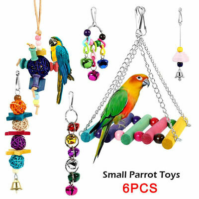 6 PACK Beaks Metal Rope Small Parrot Toy Budgie Cockatiel Cage Bird Toys T4I5U