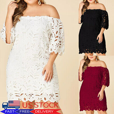 PLUS SIZE WOMEN Lace Off Shoulder Short Dress Bridesmaid ...