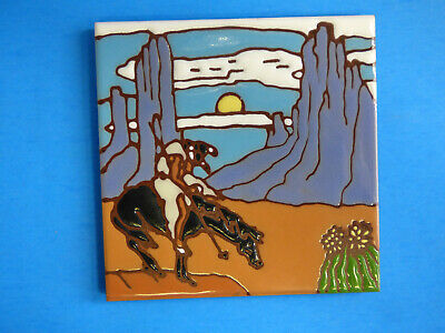 "Ceramic Art Tile 6""x6"" End of The Trail The Last Ride Indian Trivet Wall NEW M51"