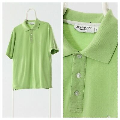 90s Vintage Mens Yves Saint Laurent YSL Polo Shirt Green Size M