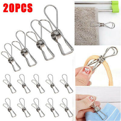 20X Stainless Steel Clothes Pegs Laundry Metal Clamps Metal Hanging Pins Clip DZ