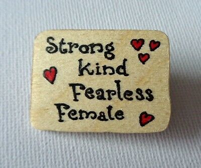 70c7c3340 Feminist Slogan Brooch Badge Pin Women's Empowerment Strong Kind Fearless  Female