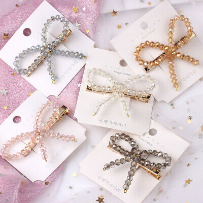 Bow Rhinestone Pearl Hair Clip Barrette Hairpin Full Diamond Accessory Jewelry