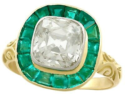Antique 3.25ct Emerald and 1.92ct Diamond 18ct Yellow Gold Dress Ring