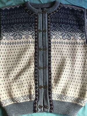 DALE OF NORWAY Pure New Wool NORDIC CARDIGAN Blue PEWTER CLASPS