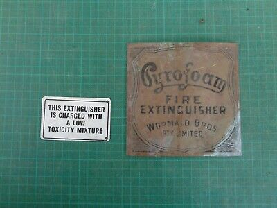 Vintage fire extinguisher plates, brass and painted metal  PYROFOAM Wormwald Bro