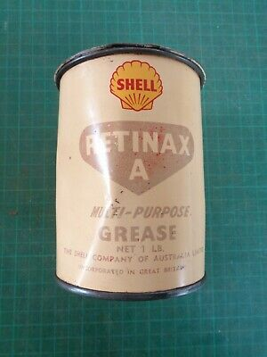 Vintage garagenalia SHELL Retinax A grease tin, 1 lb, with lid