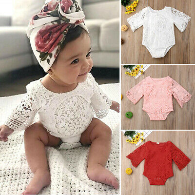 AU Summer Toddler Baby Girl Clothes Lace Floral Romper Bodysuit Jumpsuit Outfits