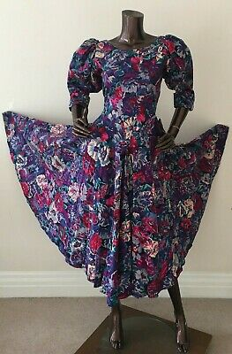 Droopy browns angela holmes floral cotton dress original vintage xs s blue pink