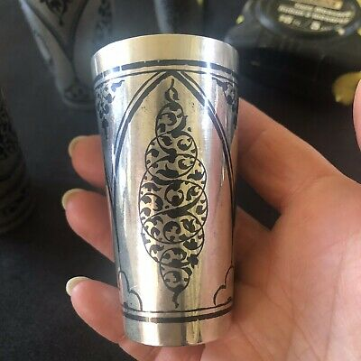 Vintage Russian Silver 875 Niello Shot Glass Vodka Cup