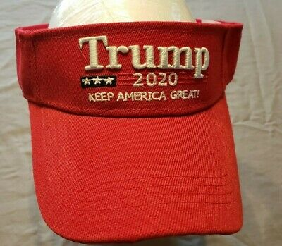 -NEW TRUMP- 2020 RED VISOR- Adjustable size---Keep America Great- 3D Embroidery