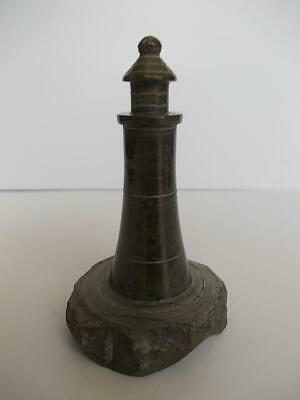 70 / Small Mid 20Th Century Hand Carved Cornish Serpentine Stone Lighthouse