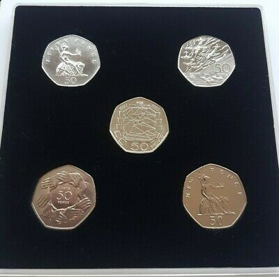 50p Dual Date 1992/1993 EU PRESIDENCY BUNC 5 x coin display set all the pre 1997