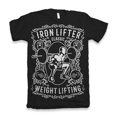 Iron Lifter T Shirt Mens Gym Fitness Training Strong Work Out Train Hard