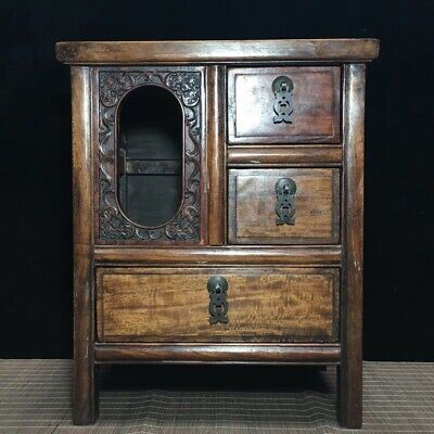"""15"""" Chinese antique Huanghuali wood Carved bat Three drawers table Chest"""