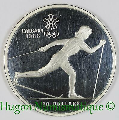 Canada Once 20 dollars 1986 argent Jeux Olympiques d'Hiver Calgary 1988