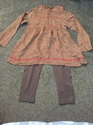 Autograph Silky Bronze Top Rd Black Stars And Taupe Leggings Age 4 - 5