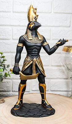 "Ebros Ancient Egyptian Theme Falcon Horus Ra Holding Ankh Statue 12"" Tall"