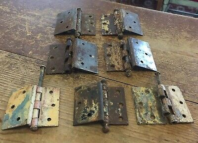 "7 Antique Victorian Ball End Salvaged Iron 3 1/2"" and 3"" Door Hinges"
