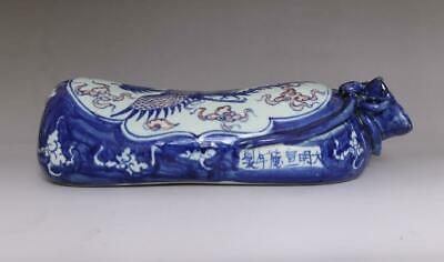Superb Antique Porcelain Chinese Blue and White Pillow Xuande MK -phoenix