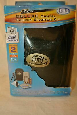 Camera starter kit deluxe digital memory card tripod case charger NEW