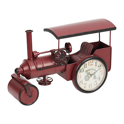 Vintage Style Red Steam Roller Mantel Table Clock