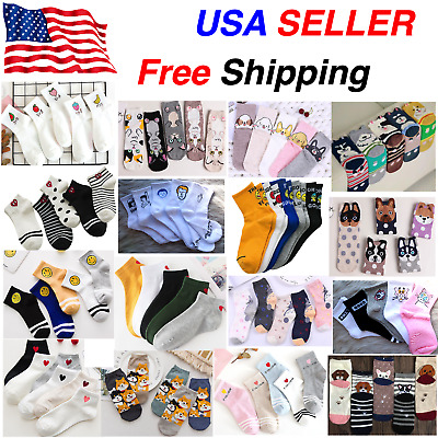 Fashion Cute Funny Heart Face Words Animal Cartoon Casual Ankle Socks Women Girl