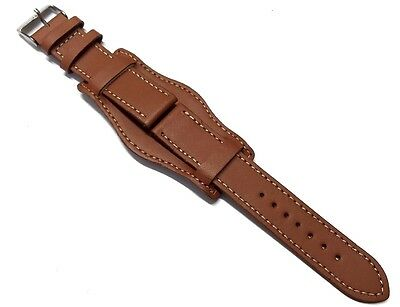 18mm 20mm 22mm 24mm TAN BROWN MILITARY LEATHER 3 PIECE WATCH STRAP CUFF and PINS