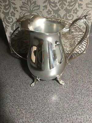 Vintage Leonard Silverplate Footed Water Pitcher With  Ice Guard + Wire Basket