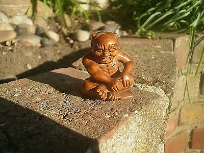 Hand Carved wood netsuke oni monster troll sits on spell book collectable figure