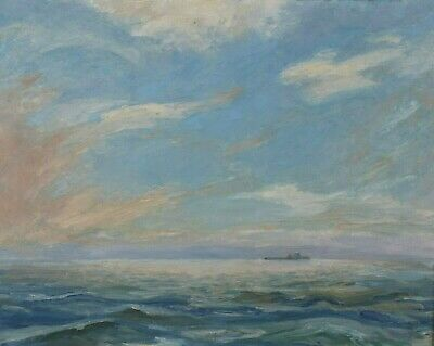 Vintage Oil Painting Ocean Landscape Canadian British Columbia